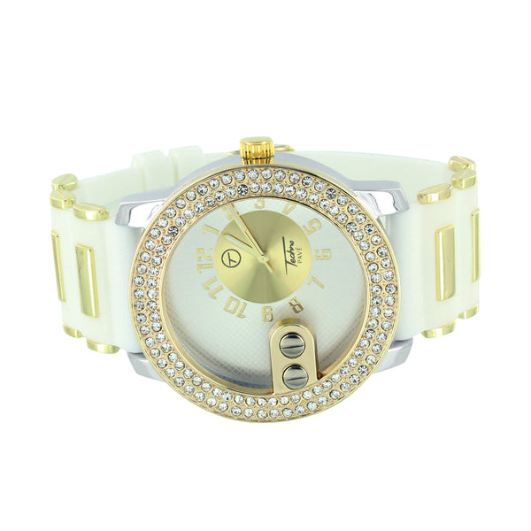 Gold & White Watch Bullet Design Rubber Silicone