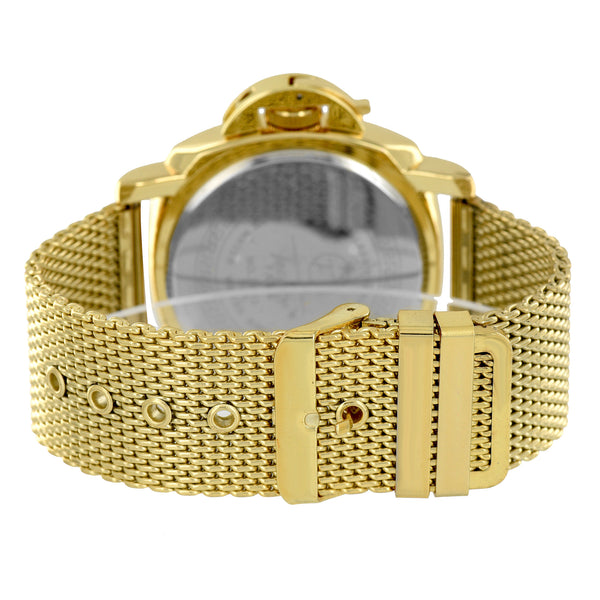 Mens Gold Finish Mesh Bracelet Band Stylish Techno Jojo Joe