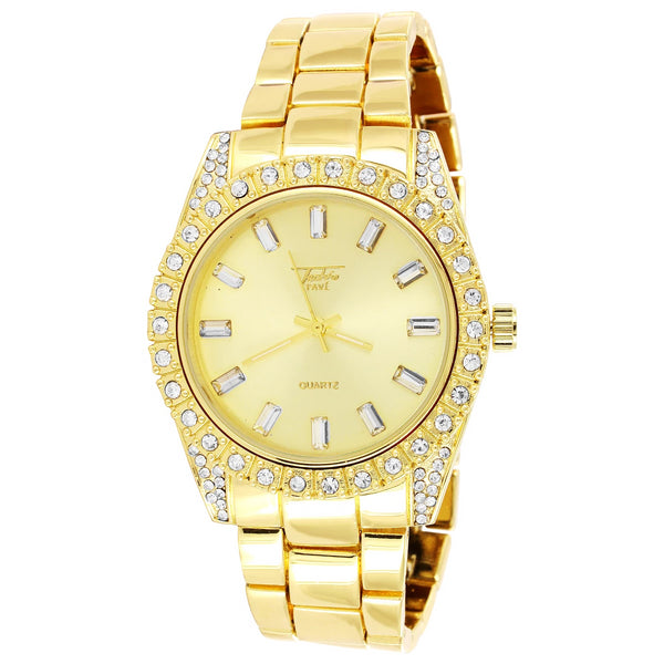 Men's Gold Finish Presidential Solitaire Prong Bezel Watch