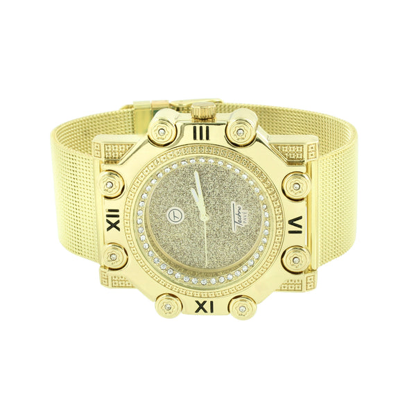 Mens Gold Finish Watch Mesh Bracelet Band Unique Screw Bezel Roman Illusion Dial
