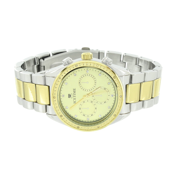 Mens Genuine Diamond Watches Icetime 2 Tone Gold White 3 Timezone
