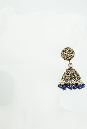 Gold dome earrings with blue beads - Desi Royale