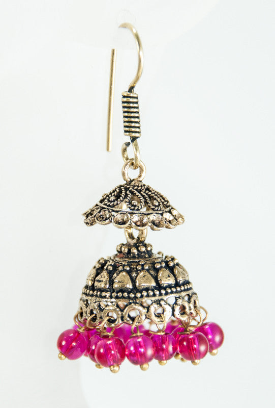 Gold Earrings with pink beads - Desi Royale