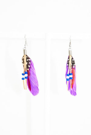 Purple feather earrings - Desi Royale