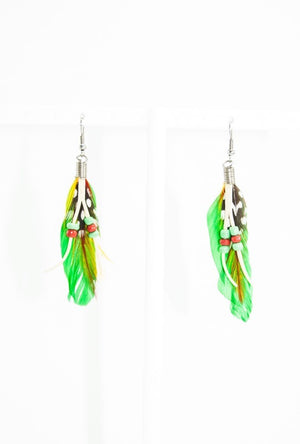 Green feather earrings - Desi Royale