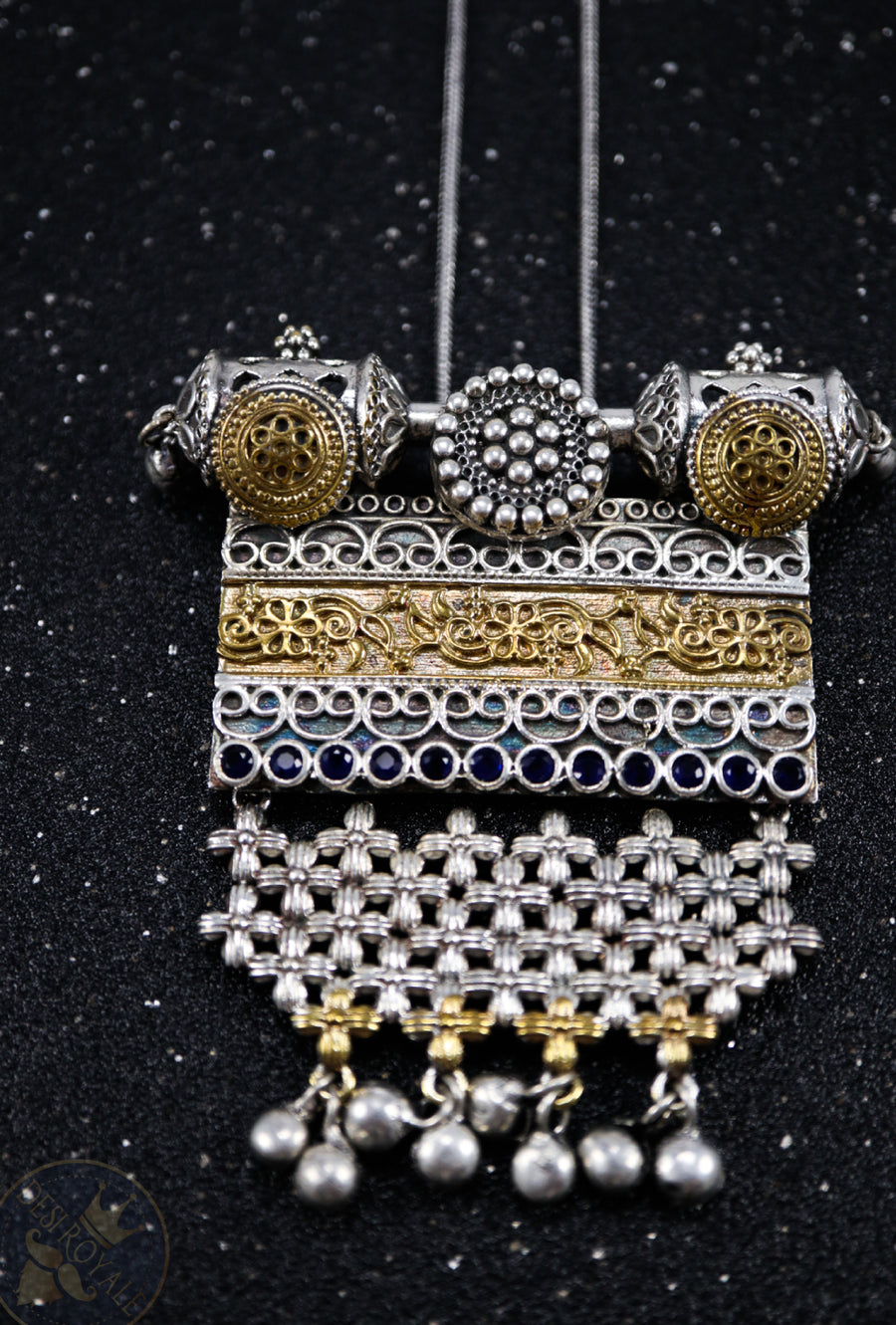 Ajanta Silver pendant with gemstones - Desi Royale