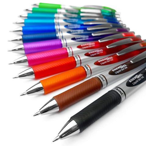 Pentel - EnerGel Xm Gel Ink Roller Pen BL77 - 0.7mm - Set of 12 - Assorted Colours