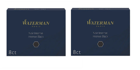 Waterman - Large Size Standard Ink Cartridges - 2 x Box of 8 - Permanent Black