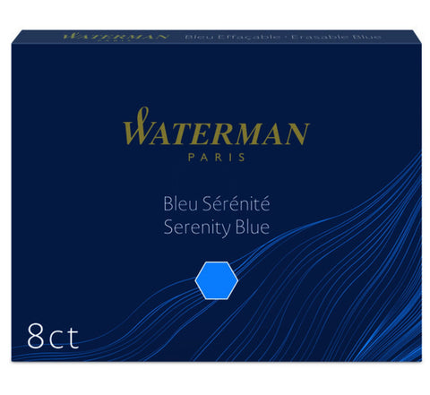 Waterman - Large Size Standard Cartridges - Box of 8 - Serenity Blue