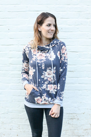 Navy floral hooded top