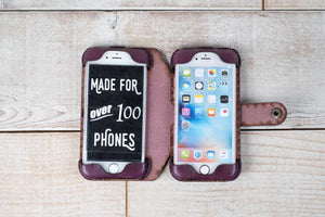hand and hide leather double phone case iphone 7 iphone 8 in violet