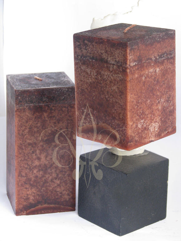 Clove Candle: Fragrant Dark Brown Clove Scented SQUARE Pillar Candle 3x4.5