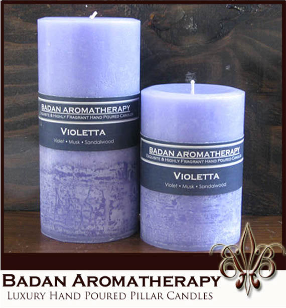 Purple Violet Pillar Candle Set of 2, Fragrant Pillar Candles