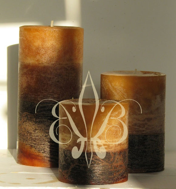 Candle: Dark Brown Sandalwood Round Pillar Candle 3x3.5 Rustic Finish