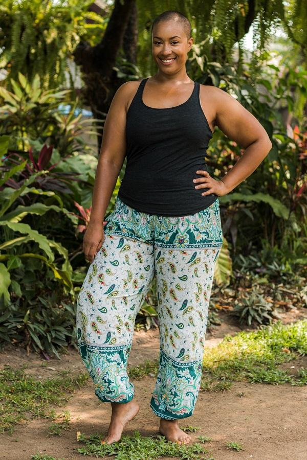 Green Plus Size Flow PantsPlus Size