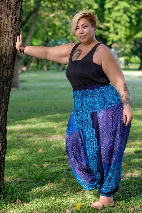 Plus Size Turquoise Blossom Pants