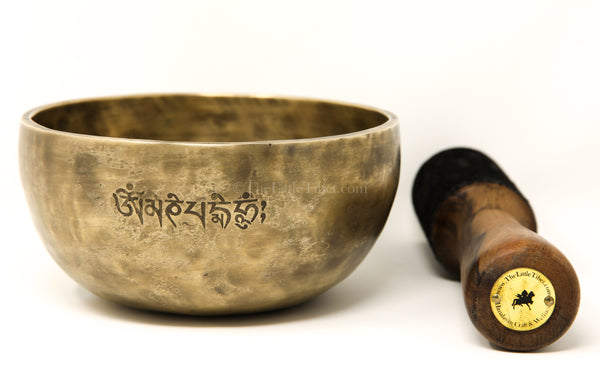 gold Full Moon Hand Hammered Singing Bowl with stick