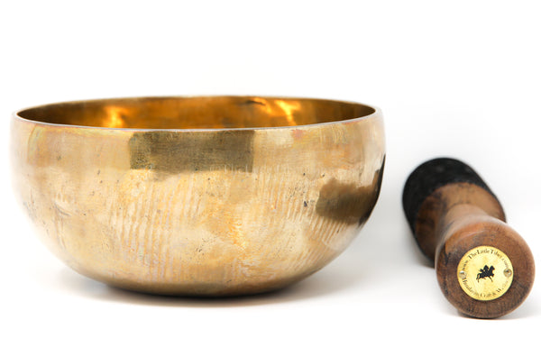 large Plain gold  Hand Hammered Singing Bowl with stick