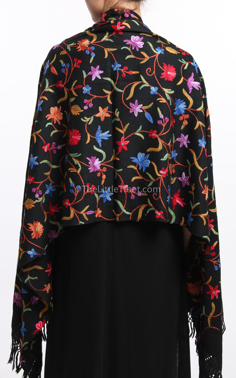 Black pink blue floral Hand Embroidered shawl 100% pure wool base draped around shoulders