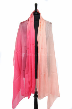 Luxury 100% silk scarf with ombre baby pink fluorescent detail