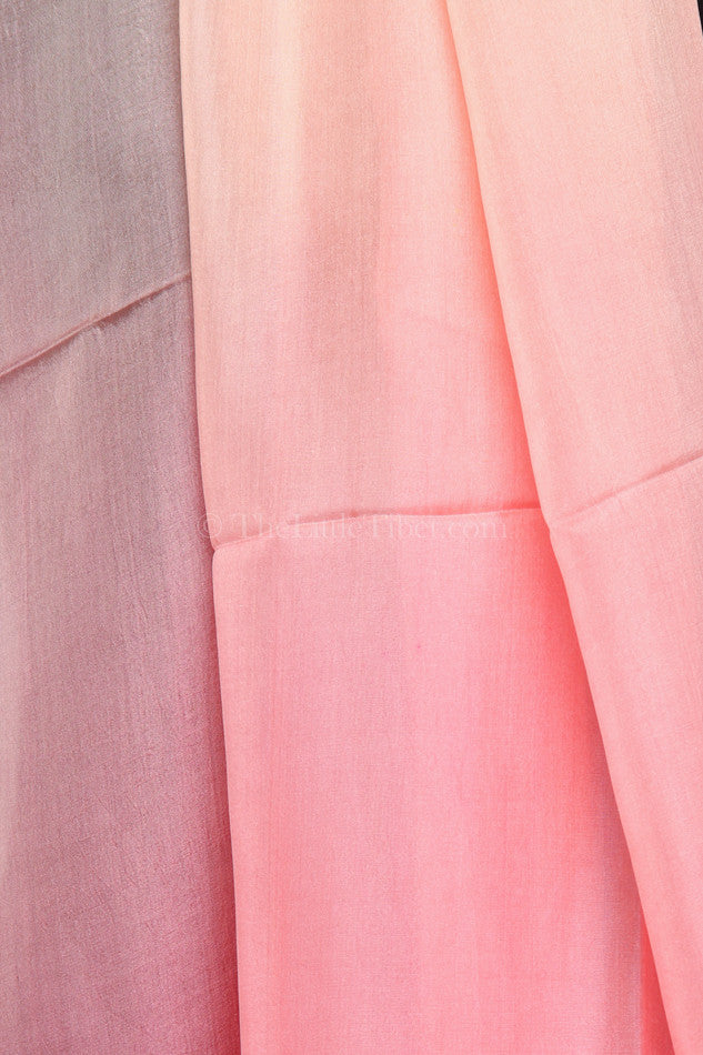 Luxury 100% silk scarf with ombre baby pink fluorescent detail close up