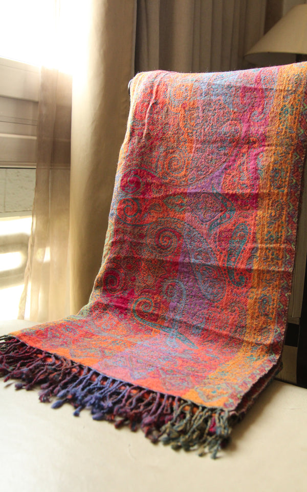 100% lambswool purple paisley warm orange red accents reversible boiled wool blanket