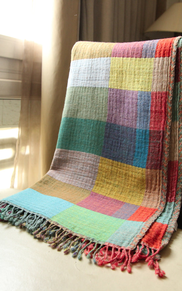100% lambswool multicoloured check reversible boiled wool blanket