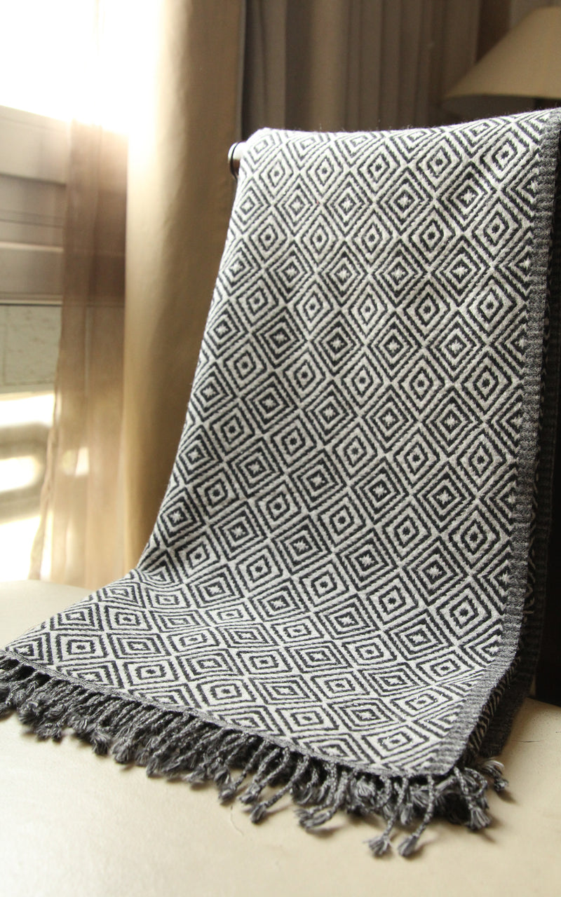 100% lambswool monochrome diamond pattern design boiled wool blanket free uk shipping