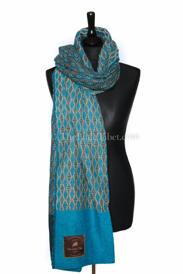 Turquoise blue Diamond patterned  baroque design Himalayan   Tibet shawl
