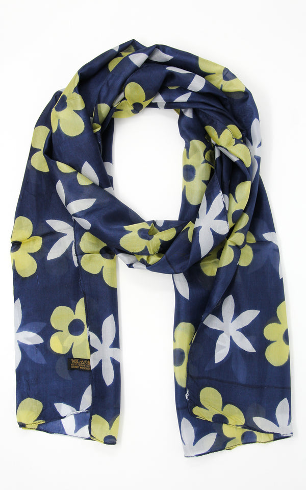 Dark floral summer silk scarf with bright yellow and white flower design
