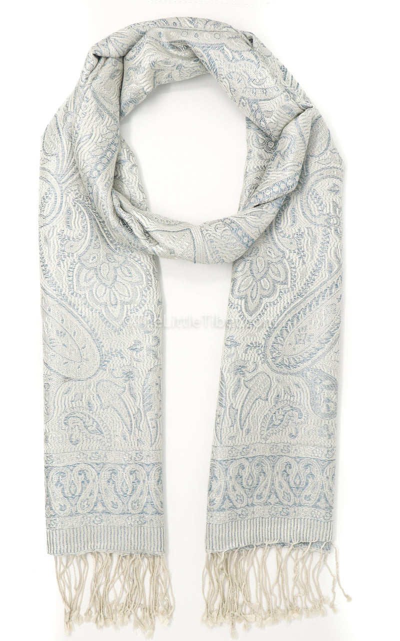 Luxurious Snowy white 100% Silk Pashmina Paisley Design with creamy tassels