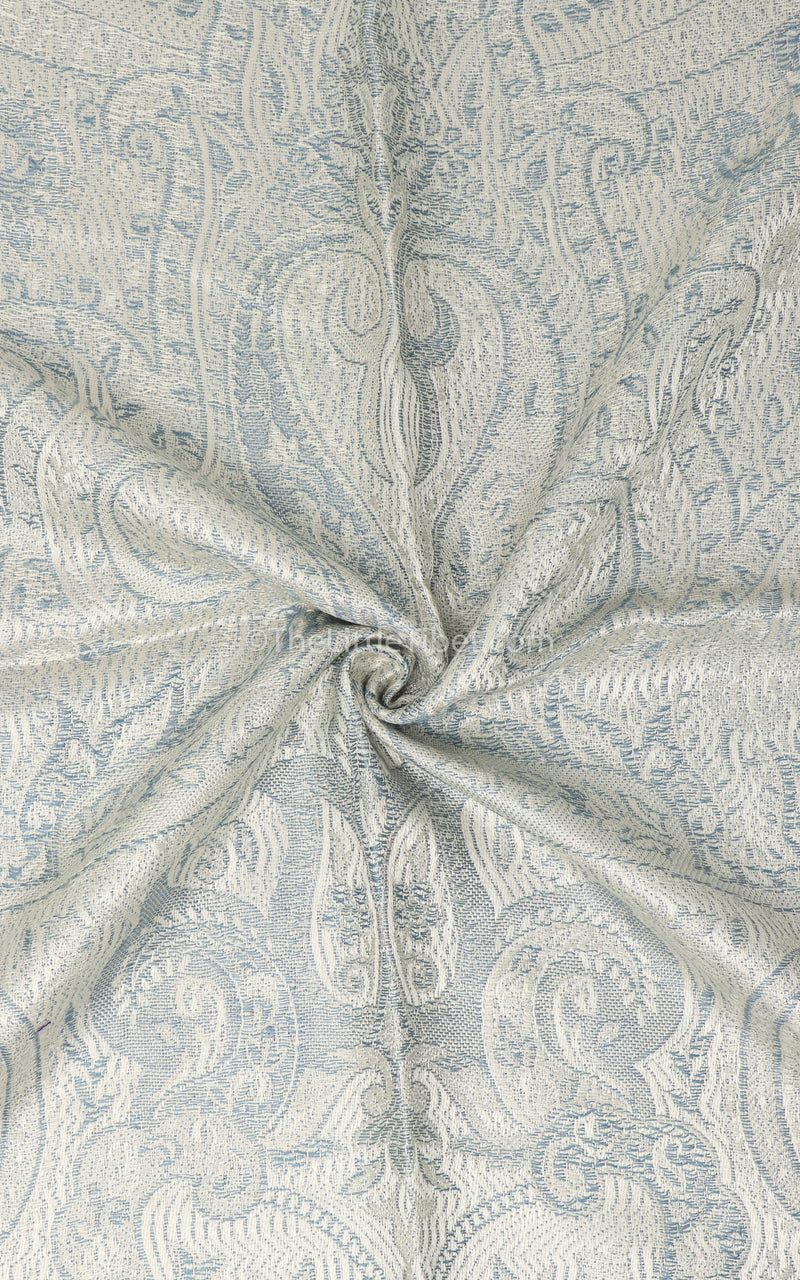 Close up of  light-catching white  luxury weaved pure silk Pashmina with paisley design Free Uk Shipping