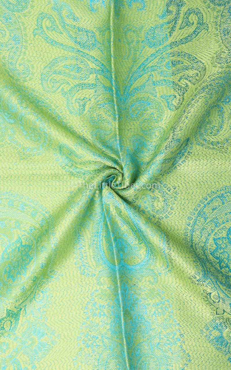 Vibrant green pure silk pashmina showing paisley detail on reversible sides free uk shipping
