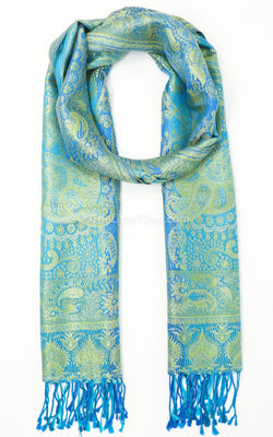 Vibrant green pure silk pashmina with bright blue tassels and reversible sides