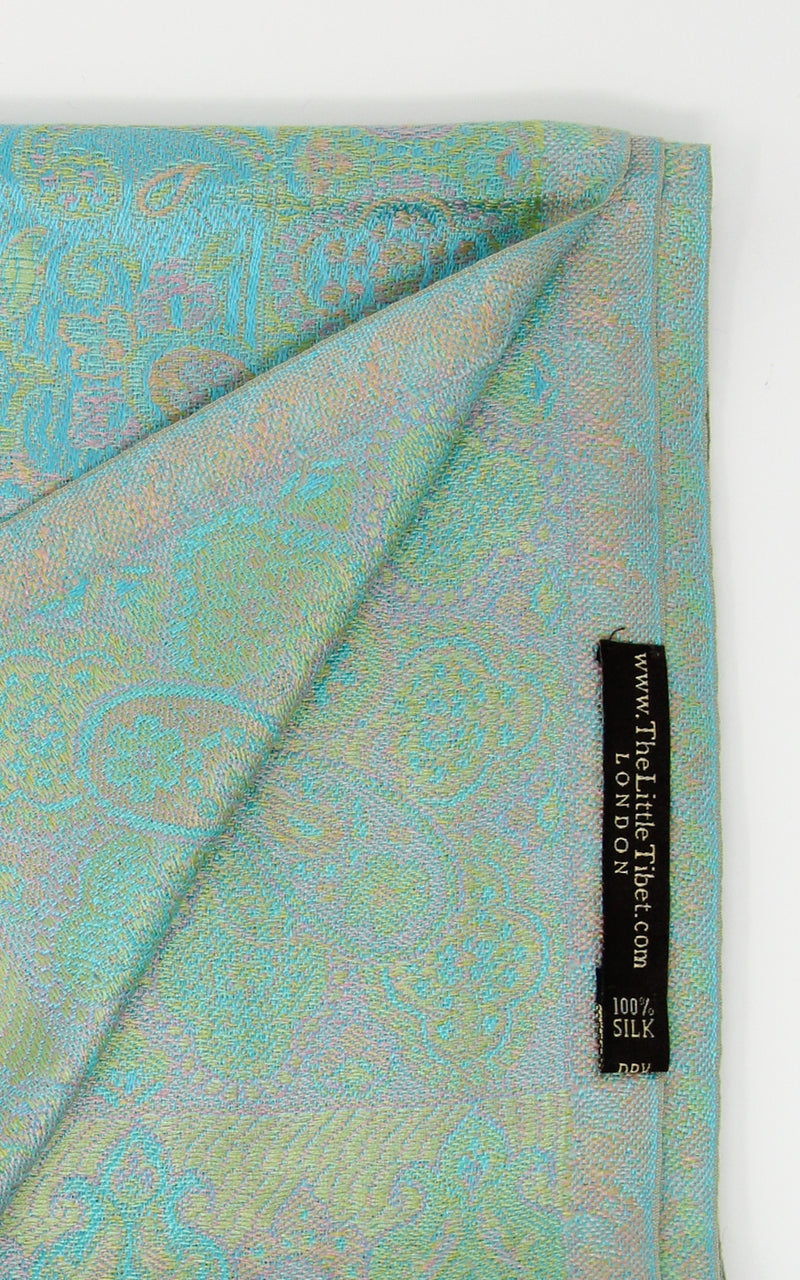 free UK shipping turquoise reversible pure silk paisley scarf close up