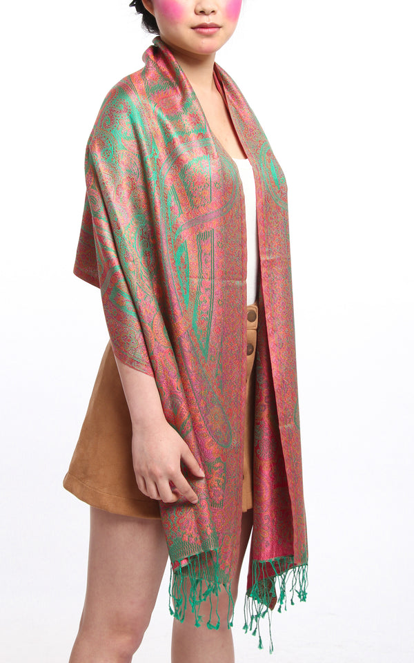 Emerald Green 100% Silk Pashmina with orange pink Paisley Design draped around the shoulders