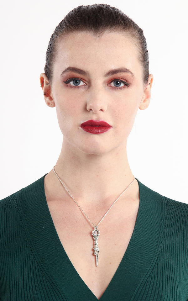model wearing vajra dorjee pendant tibetan jewellery white metal statement necklace