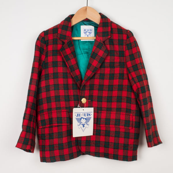 Je Suis Red and Green Checked Blazer