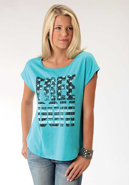 Roper Ladies Turquoise Freedom Tee