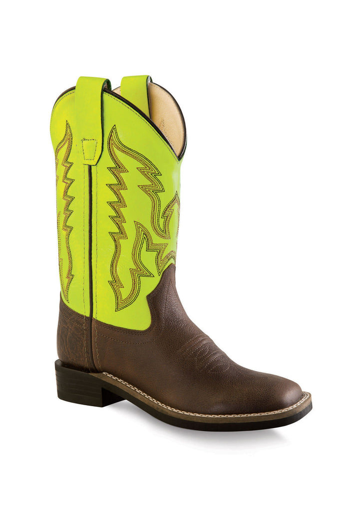 Old West Child's Ultra-Flex Square Toe Boots - Brown/Yellow BSC1888