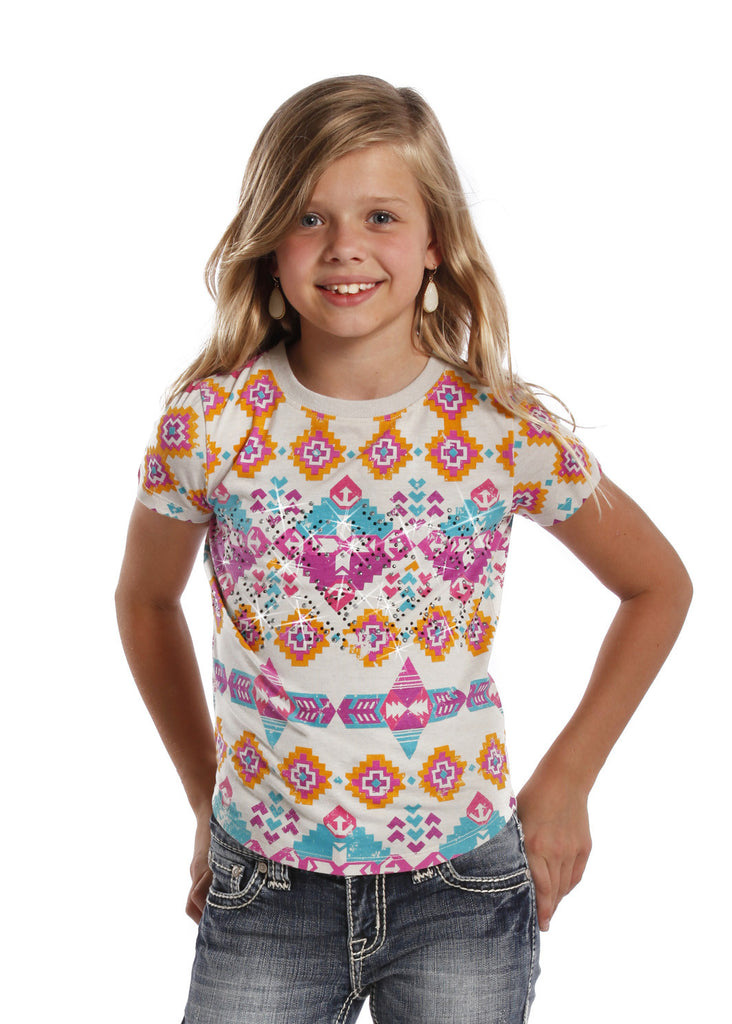 Rock & Roll Cowgirl Girls Aztec Short Sleeve T-Shirt