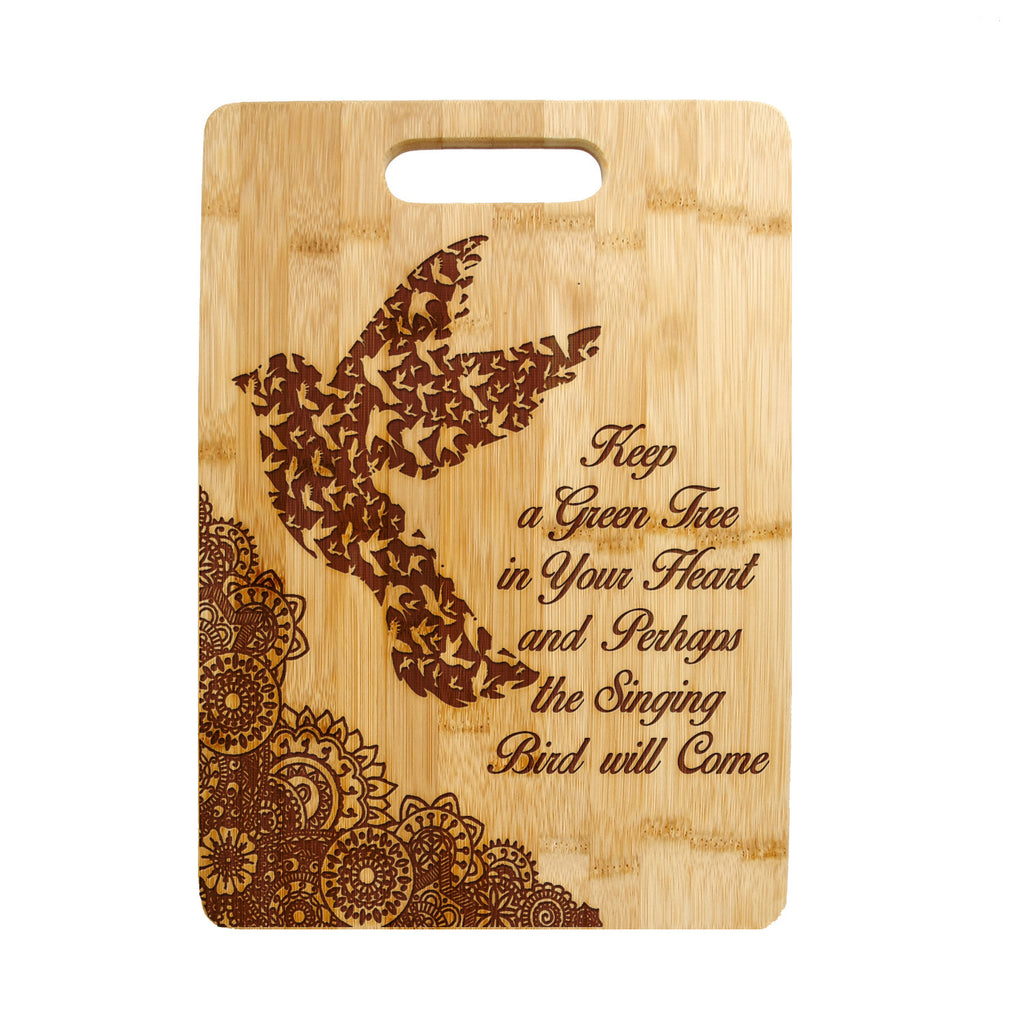 Floral Paisley Birds Quote Laser engraved on Bamboo Cutting Board,