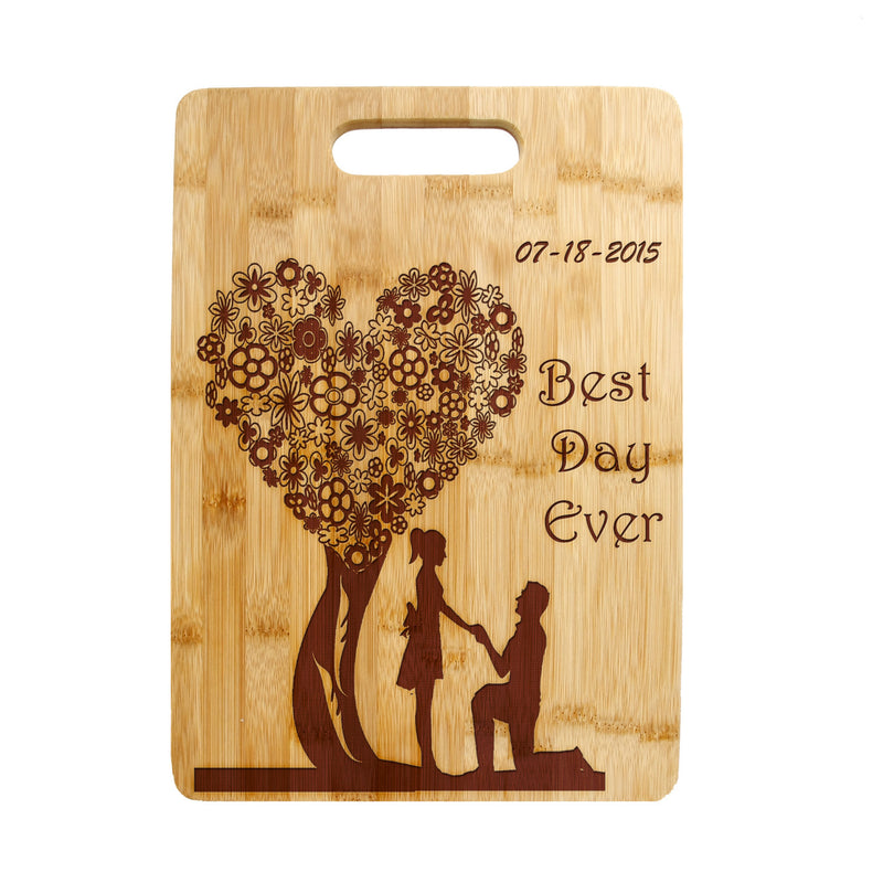 Floral Heart shaped Tree Lovers, Sweethearts Laser engraved on Bamboo Cutting Board