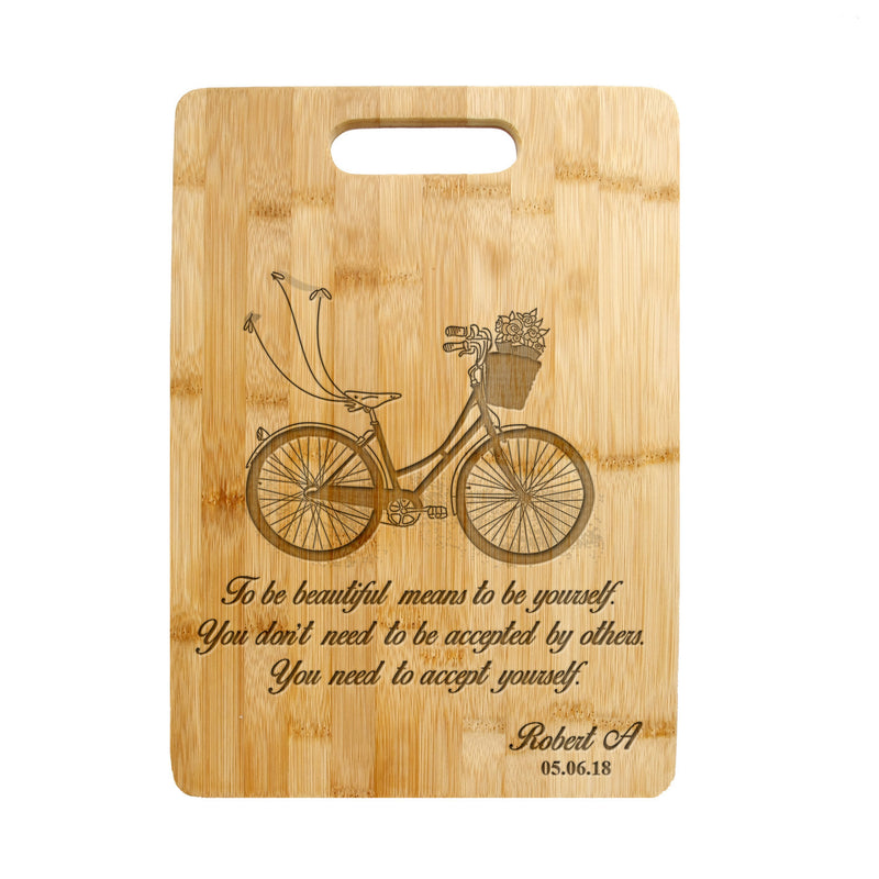 Personalized / Custom Engraved Bamboo Wood Cutting Board Bicycle design