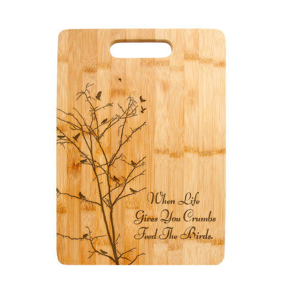Personalized Laser Engraved Cutting Board, Tree Bird love Design