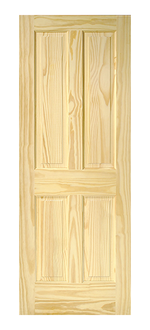 Raised Single Hip 4 Panel Pine Door
