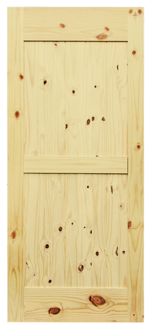 Mid-Bar V-Groove Knotty Pine Barn Door