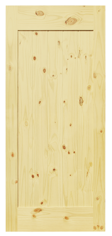 Single Panel V-Groove Knotty Pine Barn Door