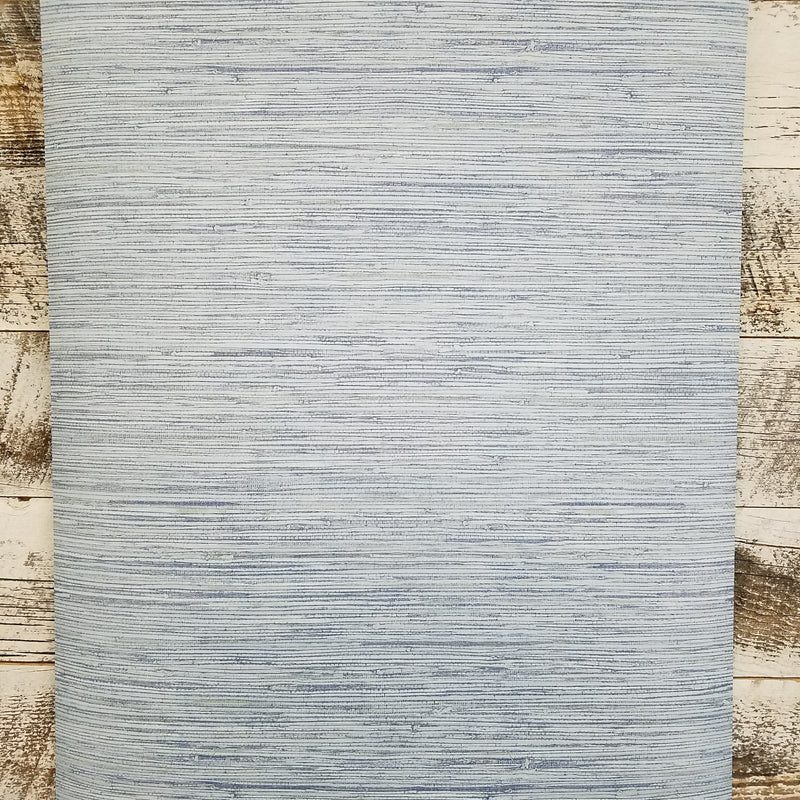 Ocean Blue Faux Grasscloth Wallpaper