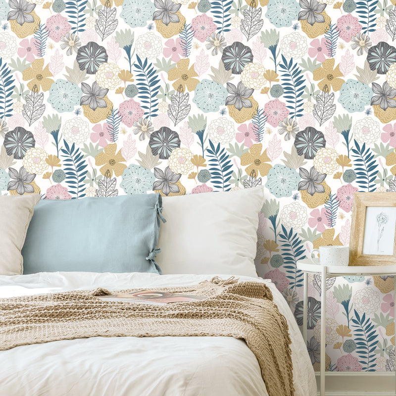 Perennial Blooms Peel and Stick Wallpaper
